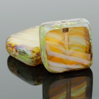 Square (11mm) Amber White Mix Opaque Transparent with Picasso