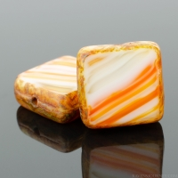 Square (11mm) Orange Olivine White Mix Opaque with Picasso