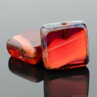 Square (11mm) Orange Fuchsia Mix Opaque Transparent with Picasso