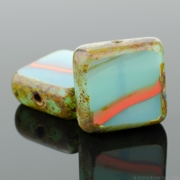 Square (11mm) Aqua Green Orange Mix Opaline Opaque with Picasso
