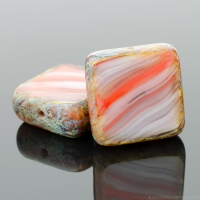 Square (11mm) Orange Purple White Mix Opaque with Picasso