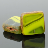 Square (11mm) Gaspeite Olivine Mix Opaque Transparent with Picasso 2