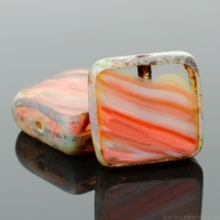 Square (11mm) Orange Crystal Grey Mix Opaque Transparent with Picasso