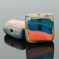 Square (11mm) Dark Aqua Orange Mix Opaque Transparent with Picasso