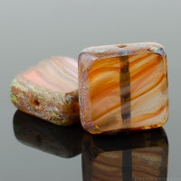 Square (11mm) Purple White Orange Mix Opaque Transparent with Picasso