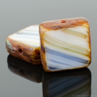 Square (11mm) Cobalt White Amber Mix Opaque with Picasso