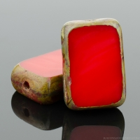 Rectangle (12x8mm) Red Opaque with Picasso