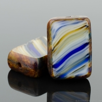 Rectangle (12x8mm) Cobalt Caramel White Mix Opaque with Picasso