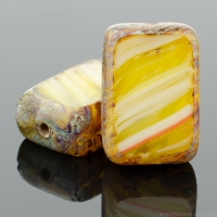 Rectangle (12x8mm) Mustard Yellow White Mix Opaque with Picasso