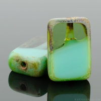 Rectangle (12x8mm) Turquoise Aqua Mix Opaque Transparent with Picasso