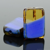 Rectangle (12x8mm) Royal Blue Amber Mix Opaque Transparent with Picasso