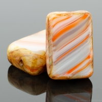 Rectangle (12x8mm) Orange Grey White Mix Opaque with Picasso