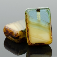 Rectangle (12x8mm) Ivory Aqua Green Mix Opaque Transparent with Picasso