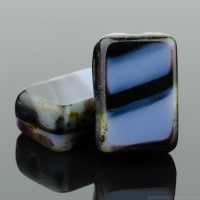 Rectangle (12x8mm) Jet Purple Mix Opaque with Picasso