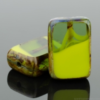 Rectangle (12x8mm) Gaspeite Olivine Mix Opaque Transparent with Picasso