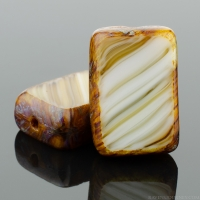 Rectangle (12x8mm) Caramel White Brown Mix Opaque Transparent with Picasso