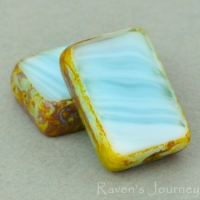 Rectangle (12x8mm) Larimar Blue Opaque with Picasso