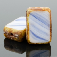 Rectangle (12x8mm) White Purple Mix Opaque with Picasso 2