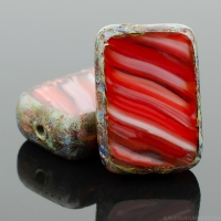 Rectangle (12x8mm) Ruby Garnet White Mix Opaque Transparent with Picasso