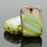 Rectangle (12x8mm) Lime Green White Aqua Mix Opaque Transparent with Picasso