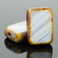 Rectangle (12x8mm) White Teal Mix Opaque with Picasso