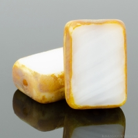 Rectangle (12x8mm) White Opaque with Picasso