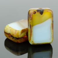Rectangle (12x8mm) Blue Amber Mix Silk Transparent with Picasso