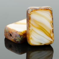 Rectangle (12x8mm) White Caramel Mix Opaque Transparent with Picasso