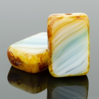 Rectangle (12x8mm) Aqua White Amber Mix Opaque with Picasso