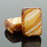 Rectangle (12x8mm) Dark Caramel White Mix Opaque Transparent with Picasso