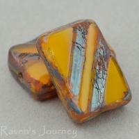 Rectangle with Stripe (13x9mm) Orange Opaline with Picasso