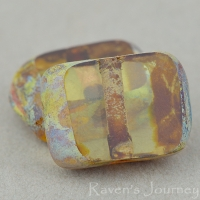 Rectangle with Alternate Hole (11x9mm) Yellow Topaz Glow Transparent with Picasso
