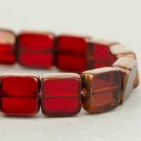 Square (6mm) Ruby Red Transparent with Gold Bronze Edge