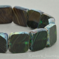 Square (9mm) Dark Emerald Brown Mix Opaque