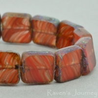 Square (9mm) Red Topaz Mix Opaque Transparent with Picasso