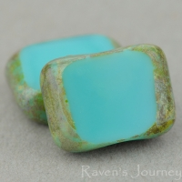 Rectangle with Alternate Hole (11x9mm) Turquoise Opaque with Green Picasso