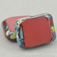 Rectangle with Alternate Hole (11x9mm) Brick Red Opaque with Picasso