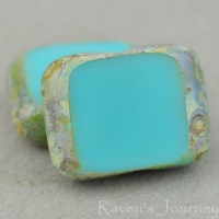 Rectangle with Alternate Hole (11x9mm) Turquoise Opaque with Picasso