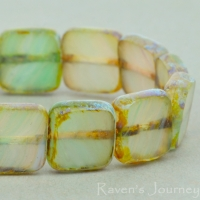 Square (9mm) Mint Green White Mix Opaline Transparent with Picasso