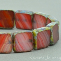 Square (9mm) Red Orange Topaz Mix Opaque with Picasso