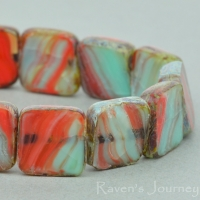 Square (9mm) Orange Mint Green Mix Opaque Transparent with Picasso