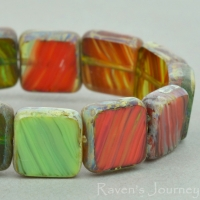 Square (9mm) Retro Green Red Olivine Mix Opaque Transparent with Picasso