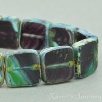 Square (9mm) Aqua Purple Mix Transparent with Picasso