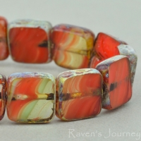 Square (9mm) Orange Coral Topaz Mix Opaque Transparent with Picasso