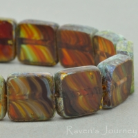 Square (9mm) Red Yellow Emerald Mix Transparent with Picasso