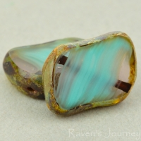 Diagonal Hole Rectangle (14x10mm) Turquoise Amethyst Mix Opaque Transparent with Picasso