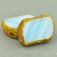 Diagonal Hole Rectangle (14x10mm) White Turquoise Mix Opaque with Picasso