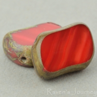Diagonal Hole Rectangle (14x10mm) Red Opaque with Picasso