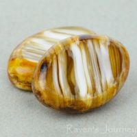 Oval (17x12mm) Smokey Topaz White Mix Opaque Transparent with Picasso