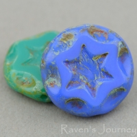 Scalloped Coin with Star (16mm) Mixed Beads Opaque with Picasso